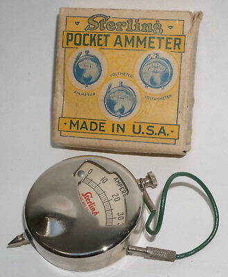 Sterling Pocket Ammeter No.24.  Clean with Box.