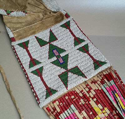 Classic Antique Northern Cheyenne Beaded and Quilled Pipe Bag, circa 1890
