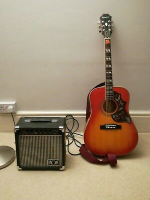 Epiphone Hummingbird Pro with amp