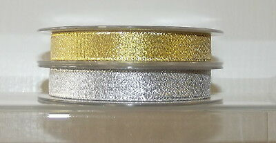 "Metallic Glitter Organza Ribbon 14mm (1/2"") wide 1m, 2m 5m Gold Silver Lurex"