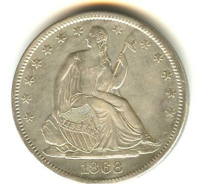 1868 S Seated Liberty Half Dollar AU++ Details In Grade.