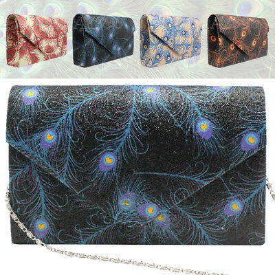 Women'S Peacock Feather Clutch Evening Bags Party Wedding Bridal New Handbags