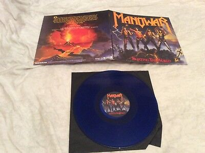 "Manowar ""Fighting The World"" 2011 Blue vinyl Gatefold Lp."