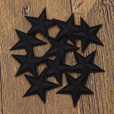 10pcs Black Star DIY Embroidery Iron Sew On Patches Badge Fabric Applique Craft