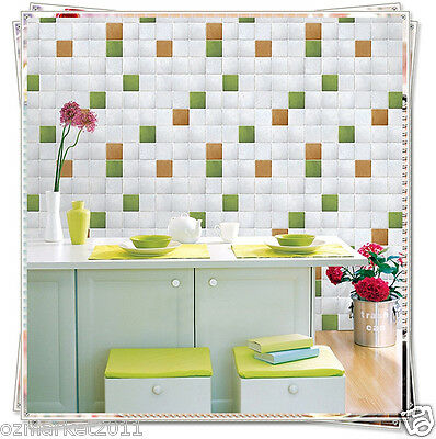 White Mosaic Grid Modern Customized Waterproof Environmental Oil-proof Wallpaper