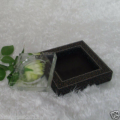 Fashion L19CM*W19CM*H4CM Black Carving Patterns Leather Base Crystal Ashtray