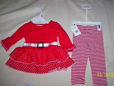 Adorable Size 12 Months Girls 2 Piece Christmas Set