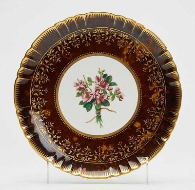 Antique Minton Floral Painted Cabinet Plate C.1883