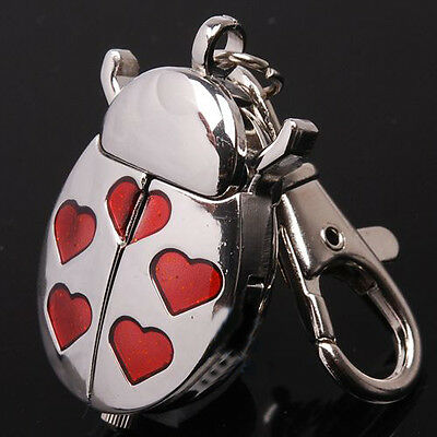 Beetle Red Heart Key Ring Women Watch Quartz Accessories Montres