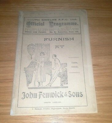 South Shields v Middlesbrough 11/9/1926 extremely scarce issue