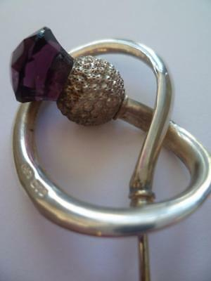 Antique Large Charles Horner Silver & Amethyst Hat Pin H/mark Chester Dated 1912
