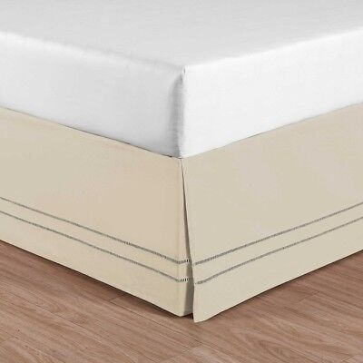 Linen Hemstitch Twin Size Bed Skirt in Stone