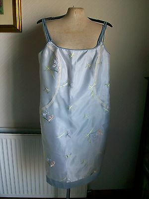 "Pale Blue Strap Lined Dress, Embroidered Flowers, Size 14, Length 38"", BNWOT"