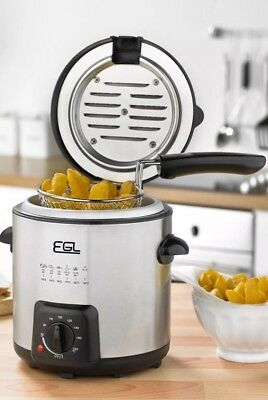 NEW EGL 0.9L Compact Stainless Steel Silver Deep Fat Fryer Fry