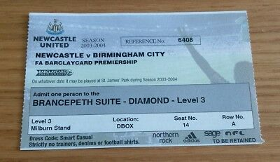 Newcastle United v Birmingham City 2003/4 directors box ticket