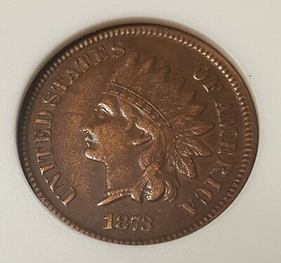 1873 Indian Head Cent Anacs Ogh Vf35 Open 3