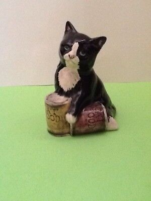 """**royal Doulton England Black And White Cat With Tins Of Food Approx 2.5"""" High**"""