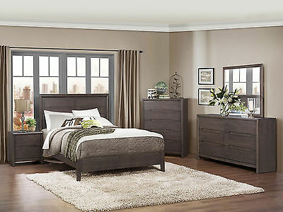 WESTBOURNE 5pcs Modern Gray Bedroom Set Furniture w/ Queen Size Panel Bed NEW