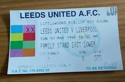 Leeds United v Liverpool 10/3/96 FA cup 6th round