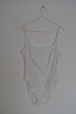Marks and Spencer Bodysuit Body Silky White Size 16 Popper Crotch & Bra Support