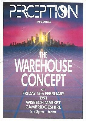 Perception - Warehouse Concept Rave Flyer 1991 - DJ Fabio, Grooverider, N-Joi