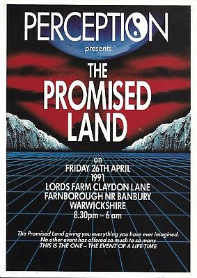 Perception - Promised Land Rave Flyer 1991 - DJ Sasha, Fabio, Grooverider, PKA