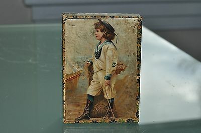 Victorian Wooden Chrome-Litho 6 Blocks Children Playing Puzzle Boxed