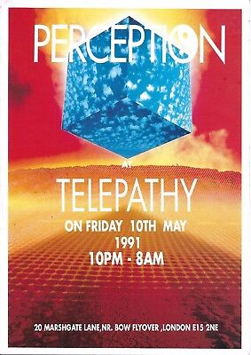 Perception - Telepathy Rave Flyer 1991 - DJ Fabio, Grooverider, Shades Of Rhythm