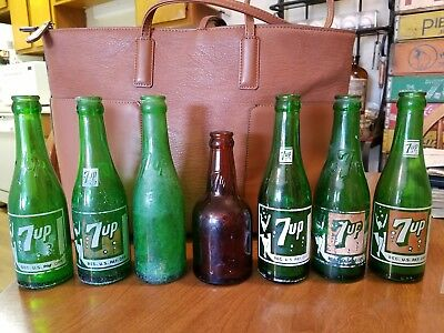 Group of 7 very Rare 7-up Bottles - 4 are embossed! Late 1930's era! One amber!