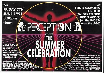Perception - Summer Celebration Rave Flyer 1991 - Fabio Grooverider T99 Nexus 21