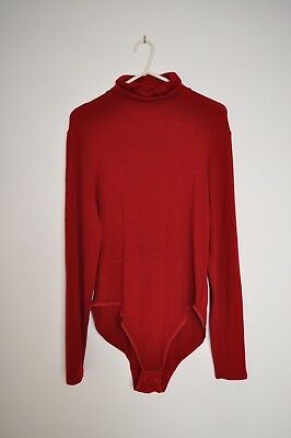 Marks and Spencer Dark Red Bodysuit Body Size 16 Turtle Roll Polo Neck Popper