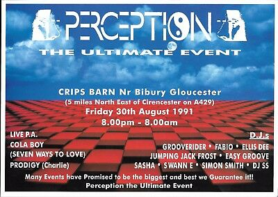 Perception - Ultimate Event Rave Flyer 1991 - The Prodigy, DJ Sasha, SS, Fabio