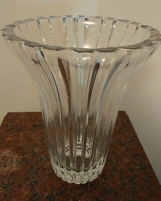 Vintage Crystal Vase 1980s, Height 8 inches, Diameter at Top 6.5, inches, Mint.