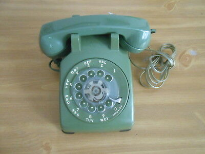 Vintage Bell Systems Green Rotary Dial Desk Phone