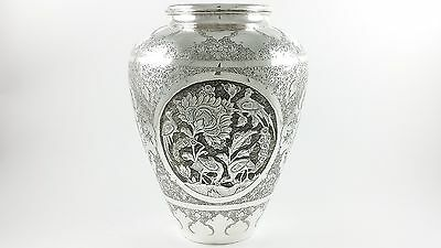 Heavy Finely Engraved & Chased Persian Islamic Solid Silver Vase 782.75G