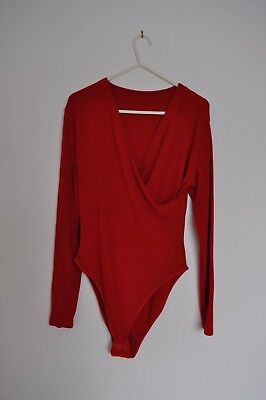 Marks and Spencer Red Bodysuit Body Size 16 V Neck Wrap Around Style