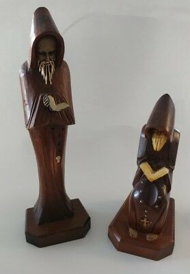 Two Vintage Wood Hand Carved Religious Statues/Monks