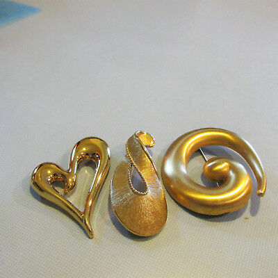 Vintage Lot of Three Signed Monet Gold Brooches MARVELOUS