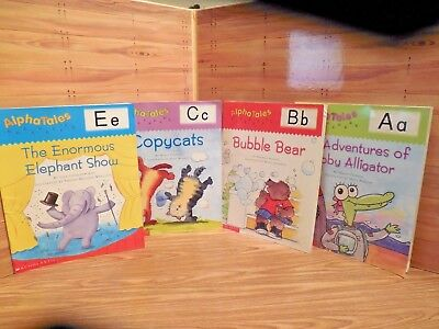 Lot of 4 Scholastic AlphaTales Books:  A, B, C & E: Recognize Letters and Sounds