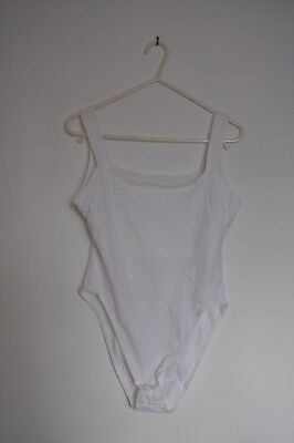 Marks and Spencer White Bodysuit Body Size 16 Floral Embroidery Bra Support