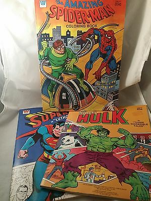 "Vintage 1980  ""Whitman"" Marvel Superhero Coloring Books Lot of 3, All Un-Used"