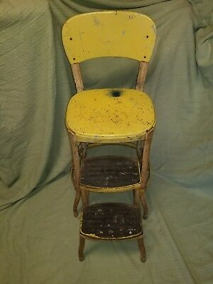 Vintage Antique Rare COSCO Step Stool Yellow Metal Industrial Kitchen Chair