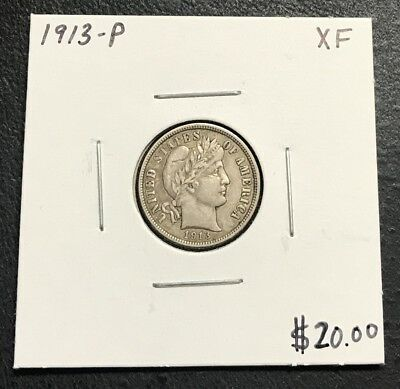 1913-P U.s. Barber Dime ~ Xf Condition! $2.95 Max Shipping! C145