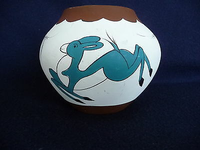 "Unique Hand Painted 4.5"" Clay Vase w/ Jumping Deer Signed"