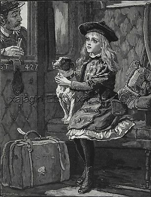 Dog Rat Terrier Guards Girl From Train Conductor, Large 1880s Antique Print