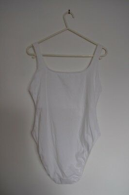 Marks and Spencer White Vest Bodysuit Body Size 16 Bra Support Popper Crotch