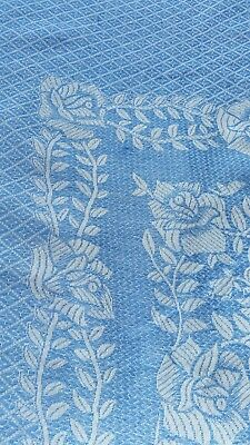 vintage  1950s double blue white cotton rose design bedspread quilt tapestry