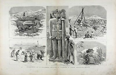 Egypt Abu Qir Archeological Dig Ramses II Statue Huge Double 1880s Antique Print