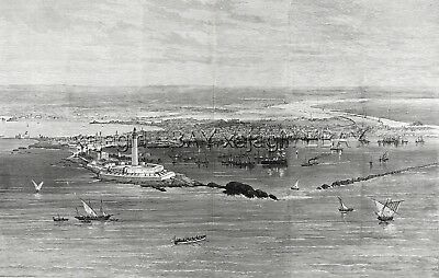 Egypt Alexandria Ciry & Harbor View, Huge Double-Folio 1880s Antique Print