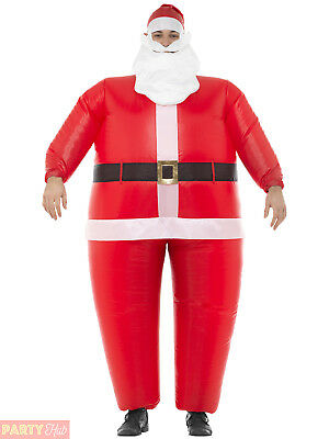 Adult Inflatable Santa Costume Mens Novelty Father Christmas Fancy Dress Outfit